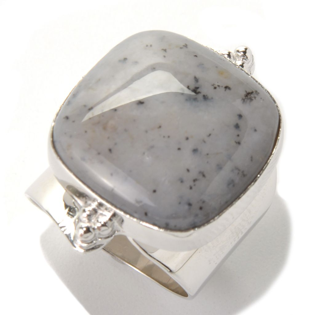 130-187 - Gem Insider Sterling Silver 19 x 19mm Square Dendritic Agate North-South Ring