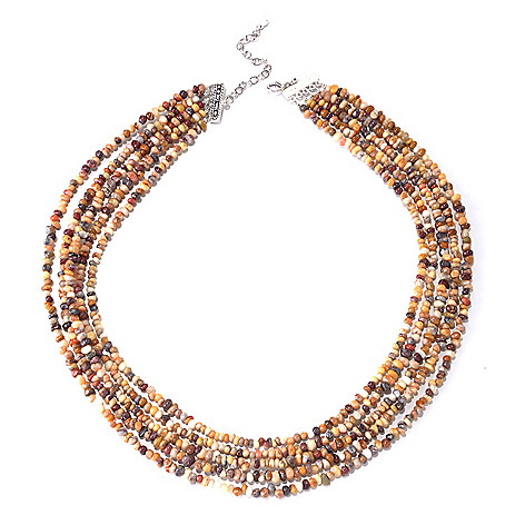 130-188 - Gem Insider™ Sterling Silver 18'' Nevada Opal Multi Strand Nested Necklace