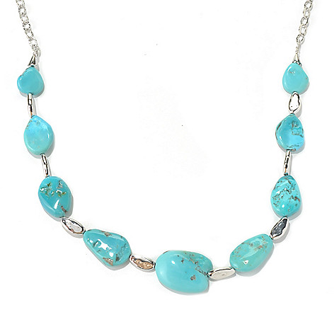 130-190 - Gem Insider Sterling Silver 26'' Freeform American Turquoise Station Necklace