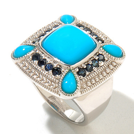 130-210 - Gem Insider Sterling Silver 10 x 10mm Sleeping Beauty Turquoise & Sapphire Ring