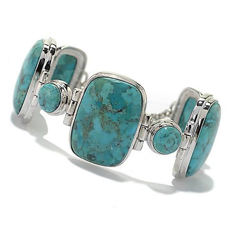 130-211 - Gem Insider™ Sterling Silver 7.75'' Multi Shape Turquoise Toggle Bracelet