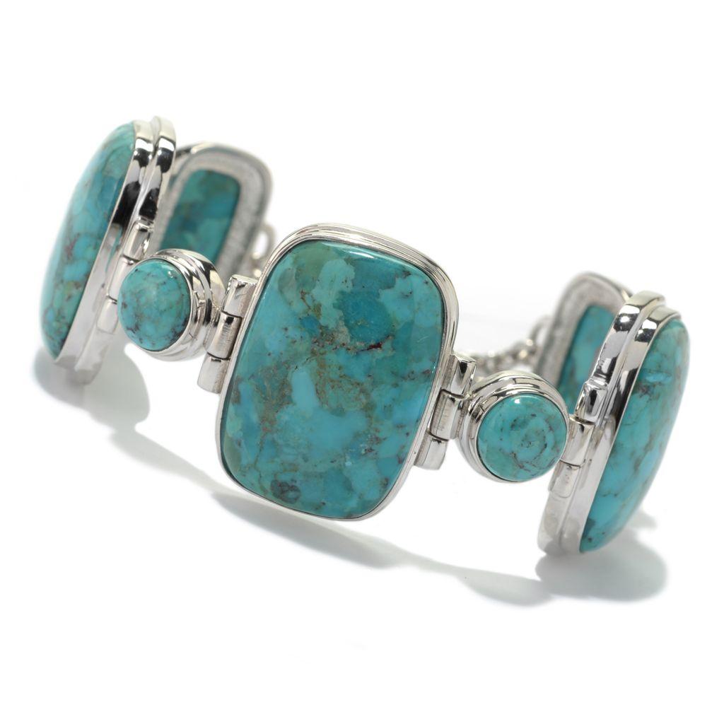 """130-211 - Gem Insider Sterling Silver 8-9"""" Turquoise Toggle Bracelet"""