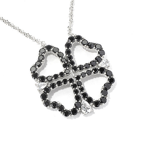 130-216 - NYC II 22'' 6.76ctw Black Spinel & White Topaz Convertible 4-Heart Necklace