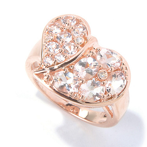 130-220 - NYC II 2.03ctw Morganite & White Zircon Heart Ring