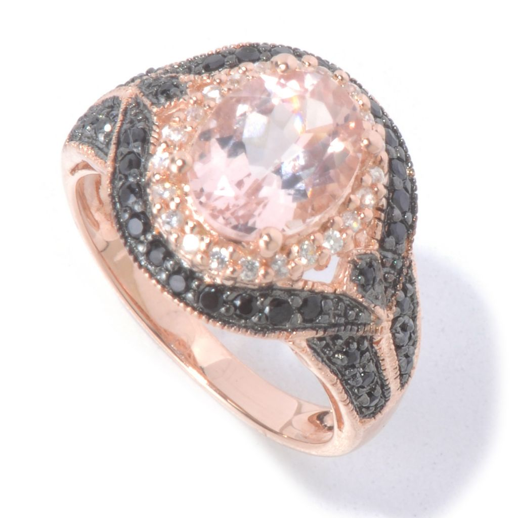 130-221 - NYC II 9 x 7mm Morganite, Black Spinel & White Zircon Halo Ring