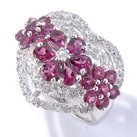 130-222 - NYC II 3.32ctw Rhodolite & White Zircon Heart Ring