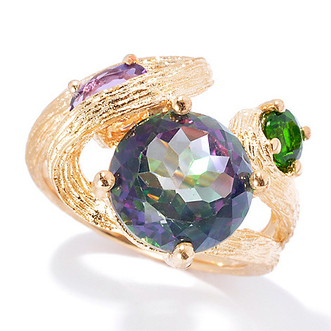 130-223 - NYC II 3.77ctw Mystic Quartz, Amethyst & Chrome Diopside Ring