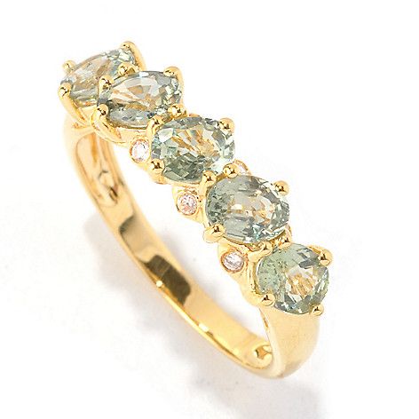 130-227 - NYC II Exotic Gemstone & White Zircon Tilted Band Ring
