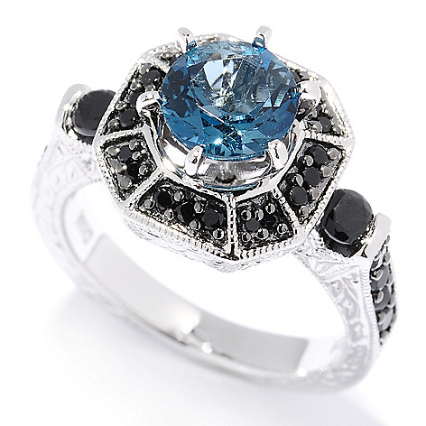 130-230 - NYC II 2.83ctw London Blue Topaz & Black Spinel Halo Ring