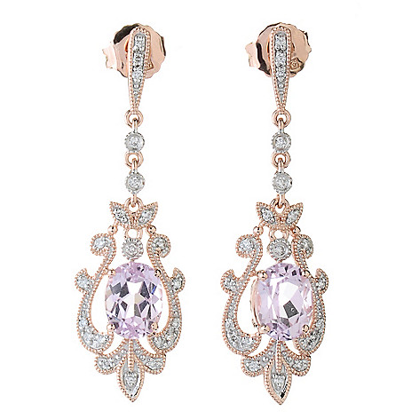 130-234 - 14K Rose Gold 1.5'' 2.81ctw Kunzite & Diamond Vintage-Style Drop Earrings