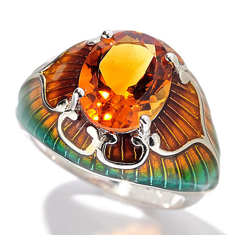 130-254 - NYC II 2.05ctw Madeira Citrine & Gradated Enamel Ring