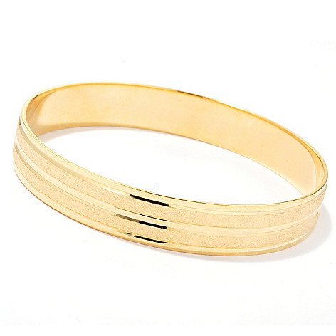 130-259 - Milano Luxe Gold Embraced™ 8'' Polished & Satin Finished Bangle Bracelet
