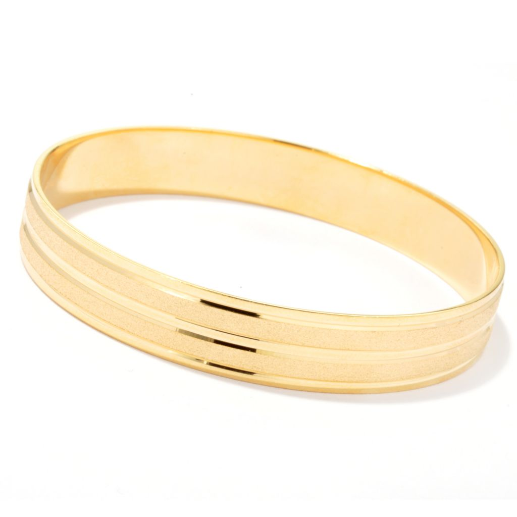 "130-259 - Milano Luxe Gold Embraced™ 8"" Polished & Satin Finished Bangle Bracelet"