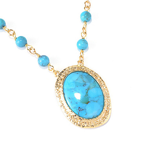 130-270 - Toscana Italiana 18K Gold Embraced™ 18'' 30 x 22mm Beaded Turquoise Necklace