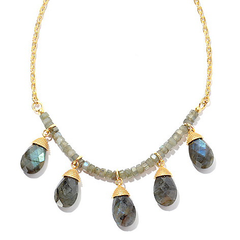 130-276 - Toscana Italiana 18K Gold Embraced™ 18'' Labradorite Fringe Necklace w/ 2'' Extender