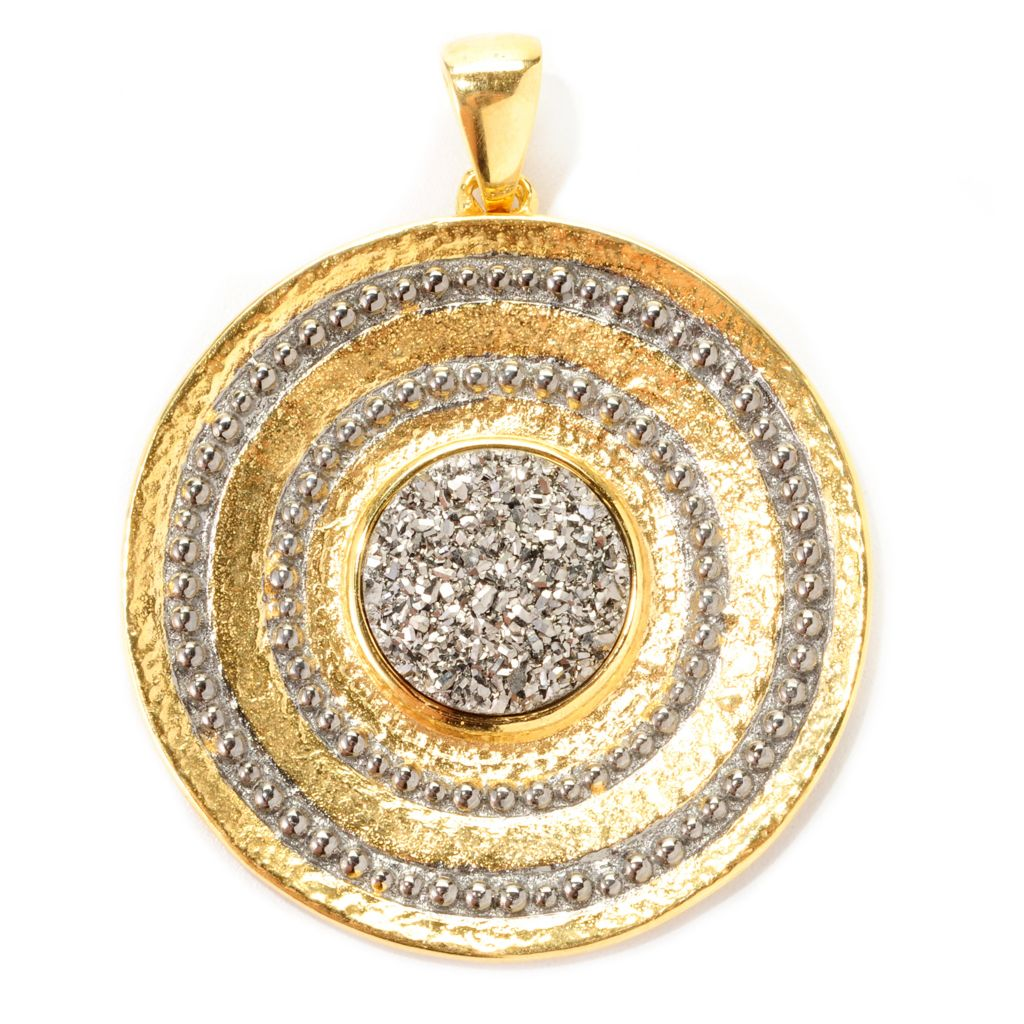 130-277 - Toscana Italiana Gold Embraced™ Platinum Drusy Medallion Pendant