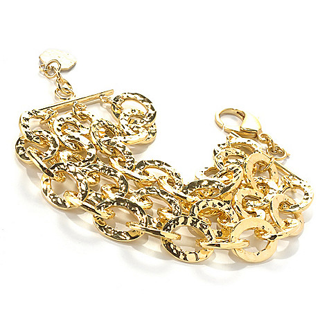 130-278 - Toscana Italiana Gold Embraced™ 8.5'' Hammered Three-Strand Oval Link Bracelet