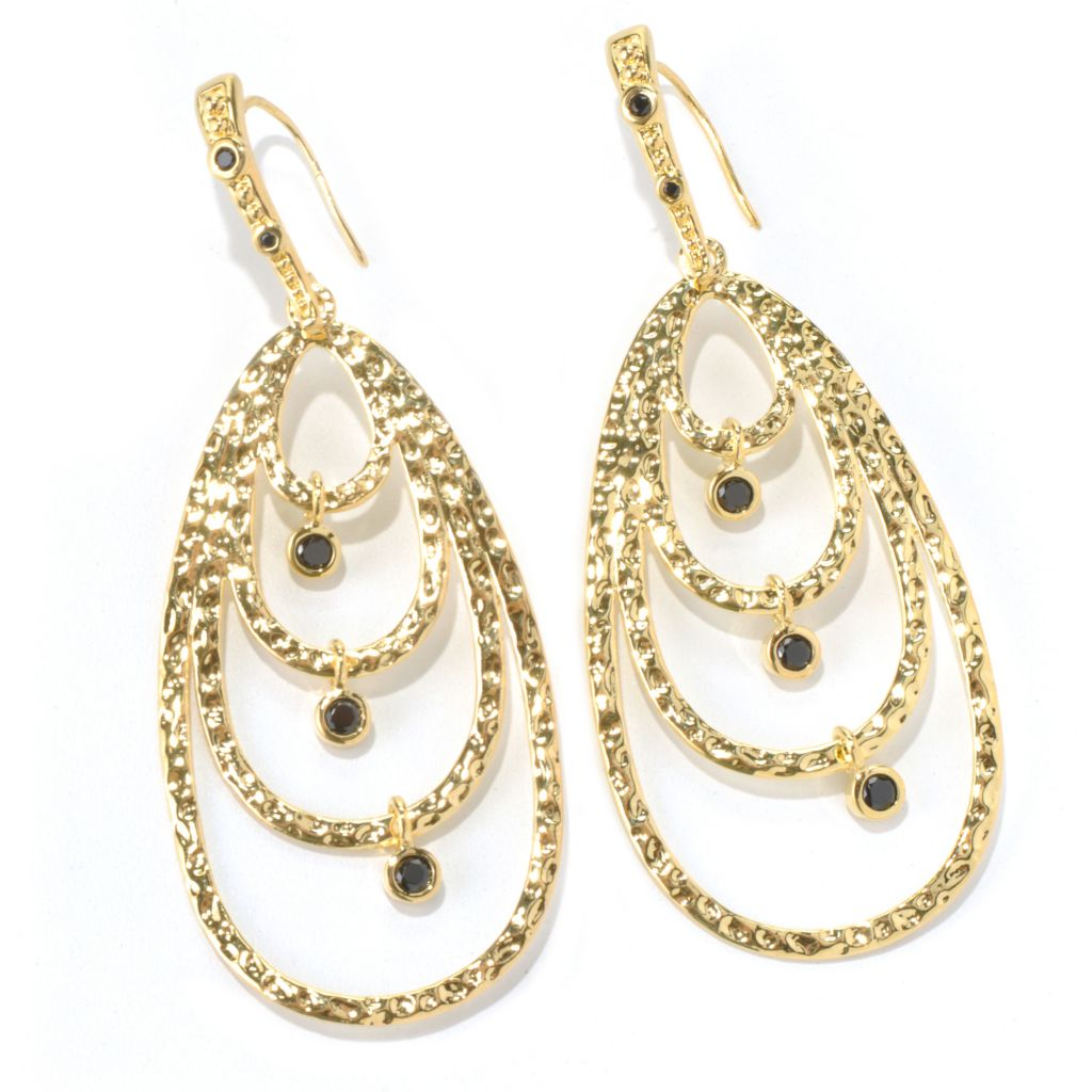 "130-279 - Toscana Italiana 18K Gold Embraced™ 3"" Black SpinelCharm Teardrop Earrings"