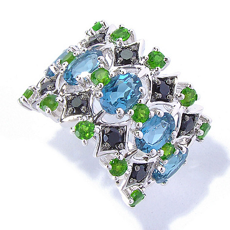 130-287 - NYC II 3.62ctw London Blue Topaz, Black Spinel & Chrome Diopside Ring