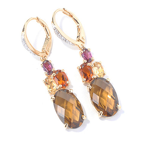 130-288 - NYC II 1.5'' White Topaz & Multi Gemstone Drop Earrings w/ Lever Backs