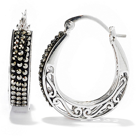 130-292 - Dallas Prince Sterling Silver 1.25'' Earrings Made w/ Swarovski® Marcasite