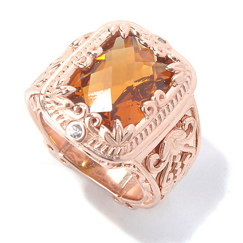 130-294 - Dallas Prince Designs 6.60ctw Cushion Shaped Madeira Citrine & Sapphire Scrollwork Ring