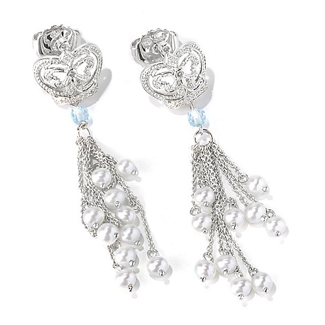 130-295 - Dallas Prince Designs Sterling Silver Topaz, Diamond & Cultured Pearl Drop Earrings