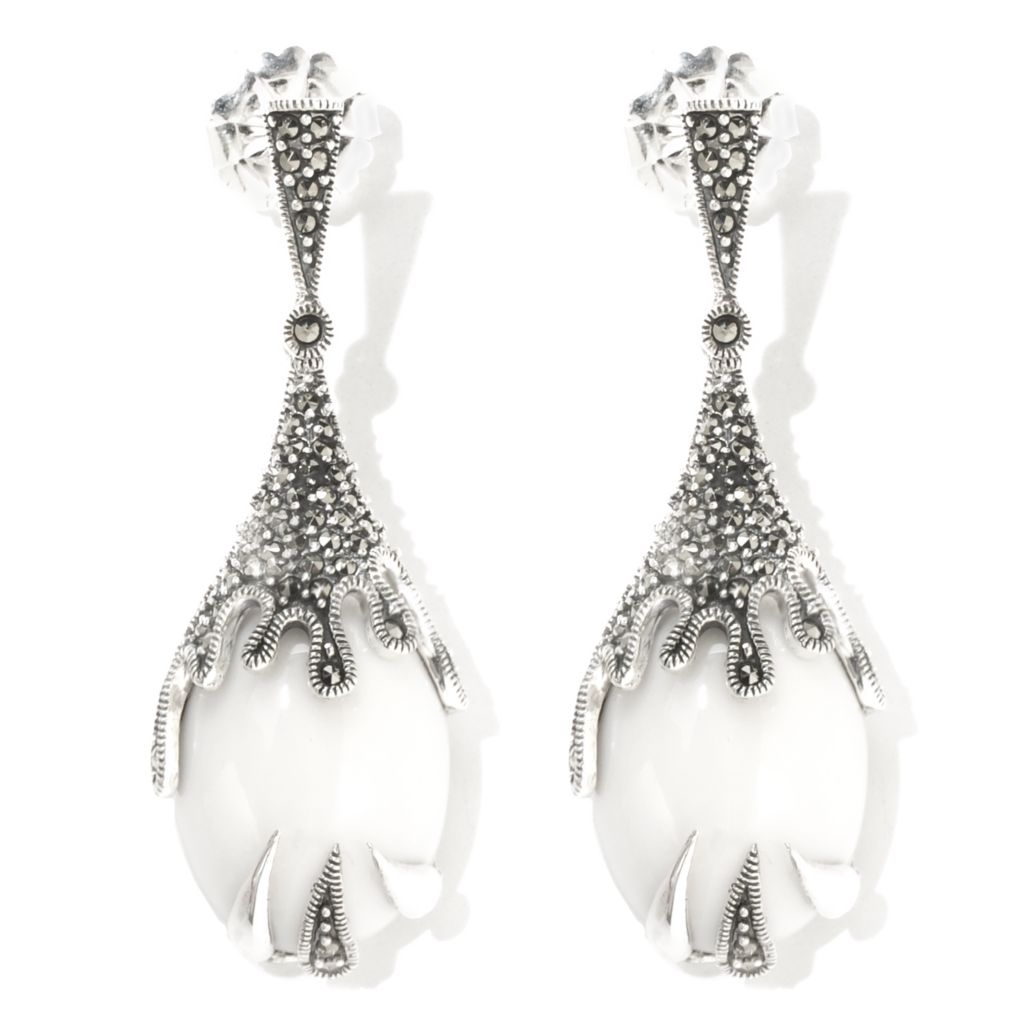 130-297 - Dallas Prince Sterling Silver Drop Earrings Made w/ Swarovski® Marcasite
