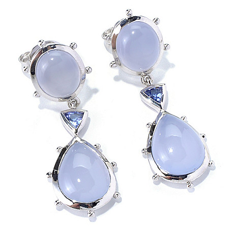130-298 - Dallas Prince Sterling Silver 1.75'' Chalcedony & Tanzanite Drop Earrings