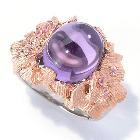 130-303 - Dallas Prince 6.28ctw Oval Pink Amethyst & Pink Sapphire Flower Ring