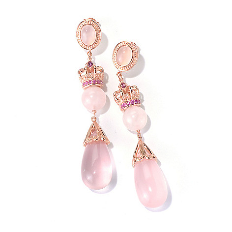 130-305 - Dallas Prince 2.75'' Pink Quartz, Sapphire & Rhodolite Crown Drop Earrings