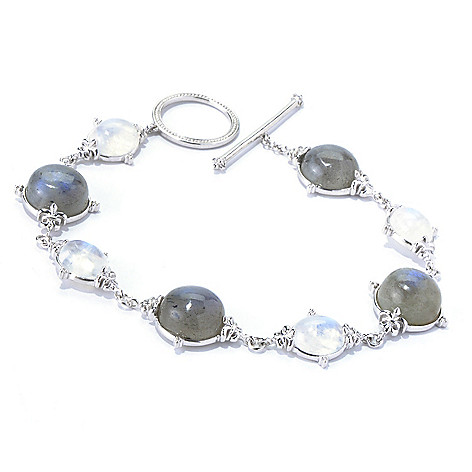 130-307 - Dallas Prince Designs Sterling Silver 8.25'' Labradorite & Moonstone Toggle Bracelet