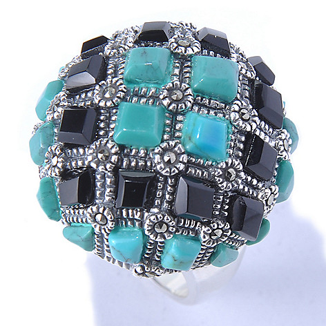 130-308 - Dallas Prince Turquoise & Agate Dome Shaped Ring Made w/ Swarovski® Marcasite