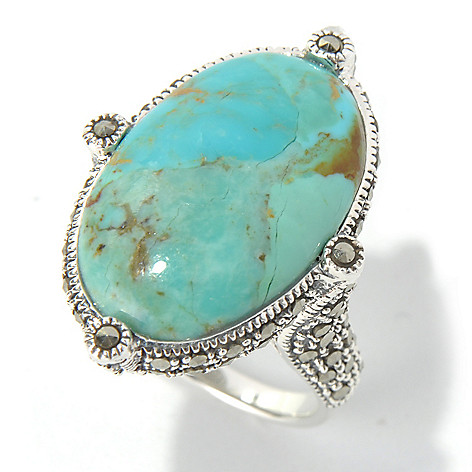 130-311 - Dallas Prince Sterling Silver Turquoise Ring Made w/ Swarovski® Marcasite