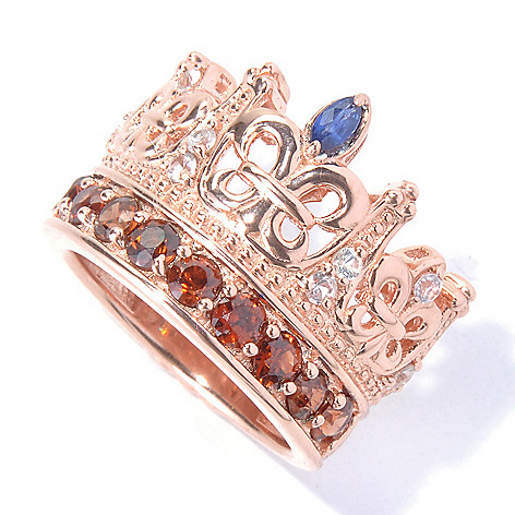 130-312 - Dallas Prince Designs 1.75ctw Brown Zircon & Multi Colored Sapphire Crown Ring