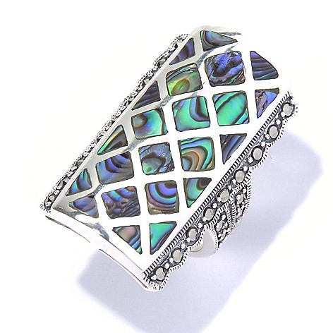 130-313 - Dallas Prince Designs Sterling Silver Marcasite & Abalone Inlay Elongated Ring