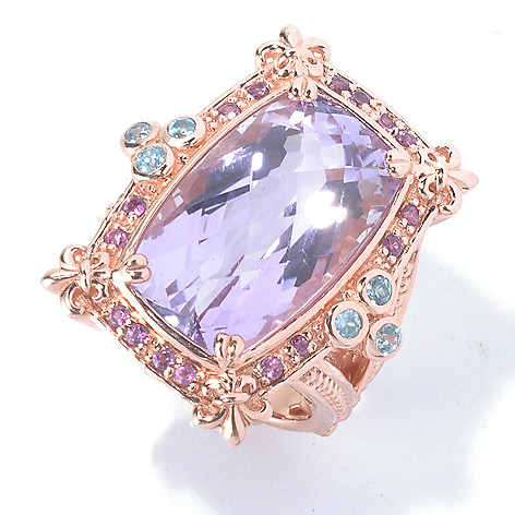 130-316 - Dallas Prince 14.62ctw Amethyst, Rhodolite & Blue Zircon Rectangle Ring