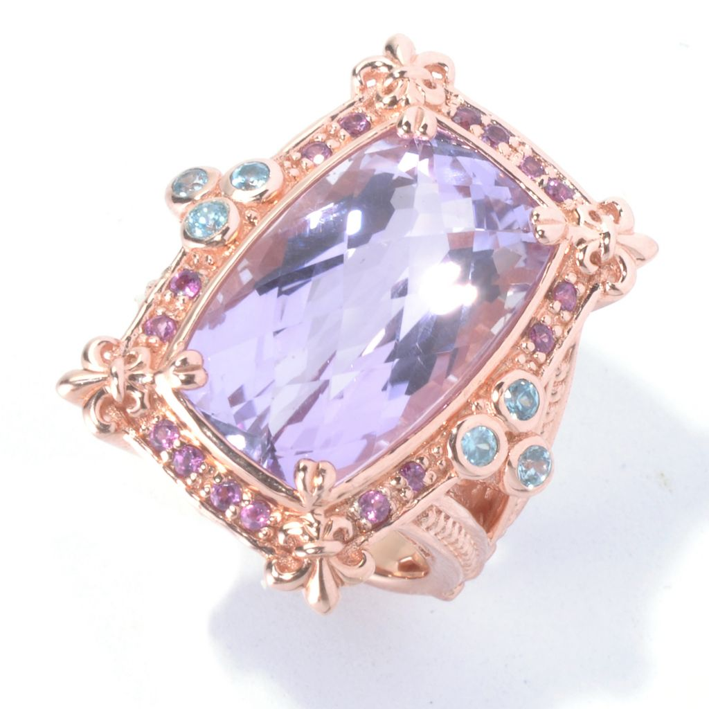130-316 - Dallas Prince Designs 14.62ctw Amethyst, Rhodolite & Blue Zircon Rectangle Ring
