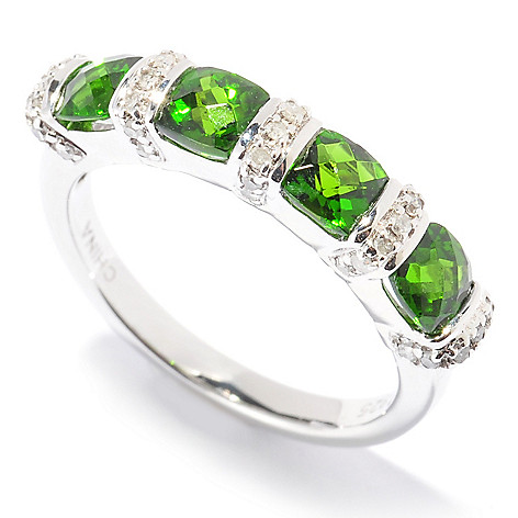 130-336 - Gem Insider Sterling Silver 1.25ctw Chrome Diopside & Diamond Four-Stone Ring
