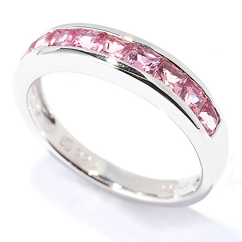 130-338 - Gem Insider™ Sterling Silver Princess Cut Pink Tourmaline Band Ring