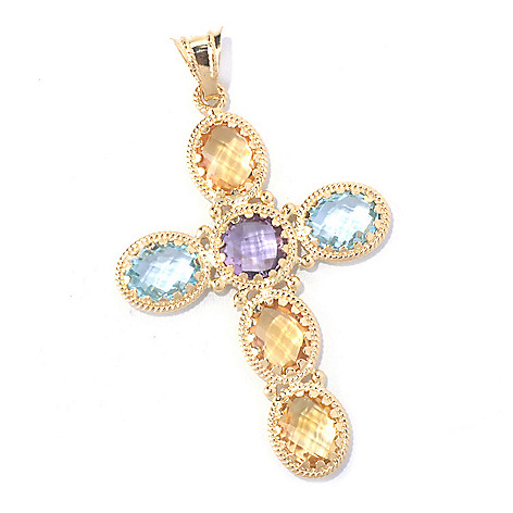 130-352 - Viale18K® Italian Gold 10.69ctw Multi Gemstone Cross Pendant