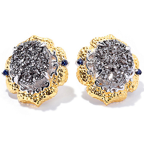 130-358 - Gems en Vogue II 12 x 10mm Drusy & Fancy Sapphire Stud Earrings
