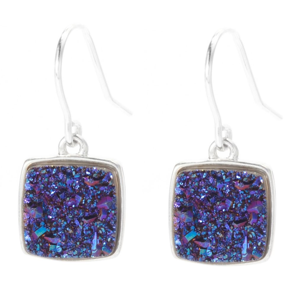 130-364 - Gem Insider Sterling Silver 10mm Square Color Drusy Drop Earrings
