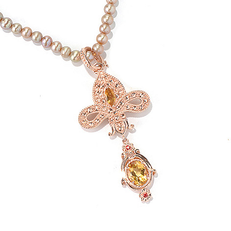 130-373 - Dallas Prince 3.92ctw Multi Gem Enhancer Pendant Made w/ Swarovski® Marcasite