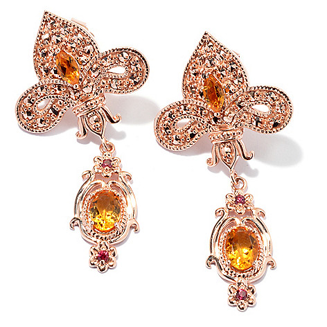 130-374 - Dallas Prince 1.75'' Multi Gem Drop Earrings Made w/ Swarovski® Marcasite