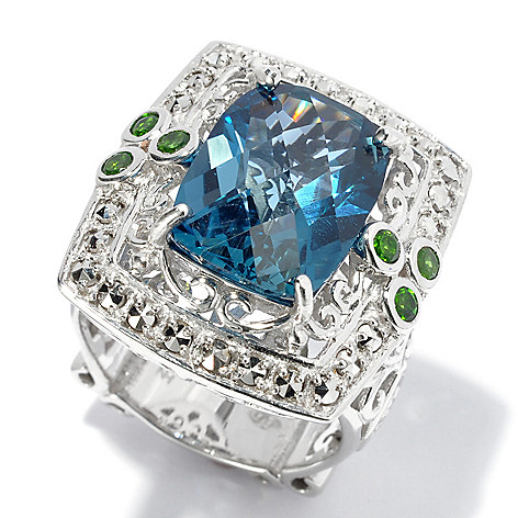 130-375 - Dallas Prince Designs Sterling Silver 8.49ctw London Blue Topaz & Gem Scrollwork Ring