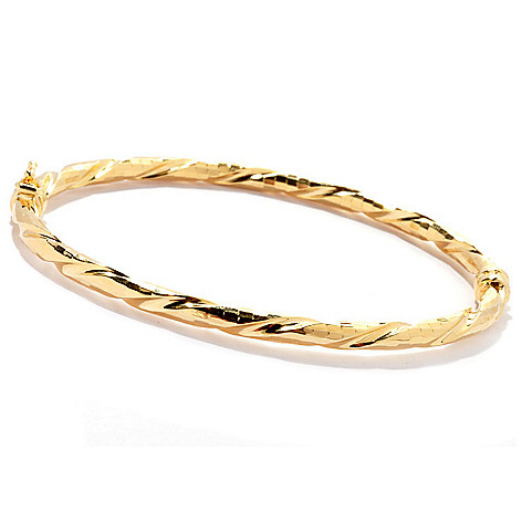 130-380 - Scintilloro™ Gold Embraced™ 7.25'' Diamond Cut Mosaic Twist Bangle Bracelet