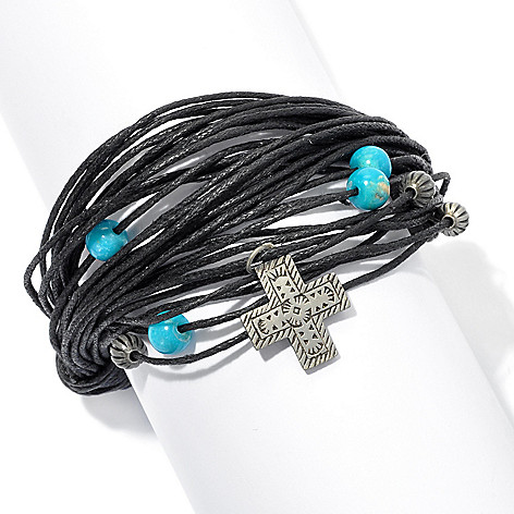 130-390 - Elements by Sarkash Silver-tone 7.5'' Turquoise Multi Cord Bracelet