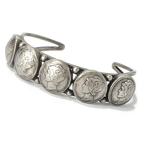 130-391 - Elements by Sarkash Silver-tone 7'' Coin Designed Cuff Bracelet