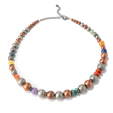 130-392 - Elements by Sarkash Silver-tone 19'' Multi Gemstone Graduated Bead Necklace